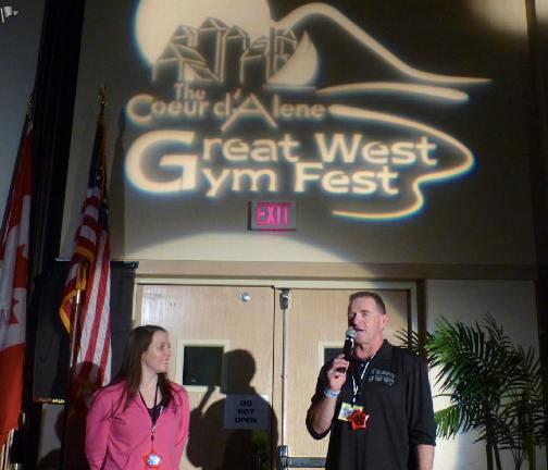 Meet Director Dave Adlard with Olympic Silver medalist Chellsie Memmel.